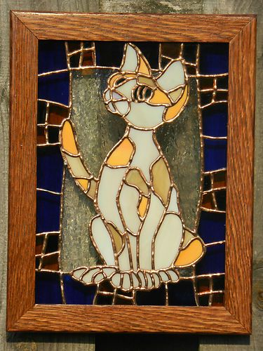 Calico Cat Stained Glass Picture Window