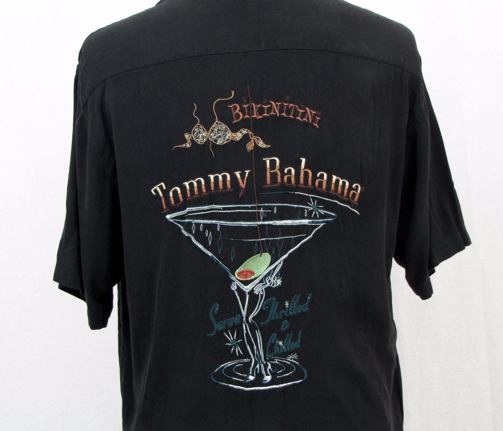 90654558c5ed Tommy Bahama Hawaiian Shirt Large Black Embroidered Bikinitini Martini  Bikini #TommyBahama #Hawaiian