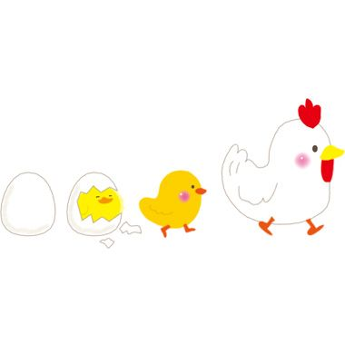 ひよこ鶏の二足歩行に進化した2017干支の無料イラスト Kaartjie