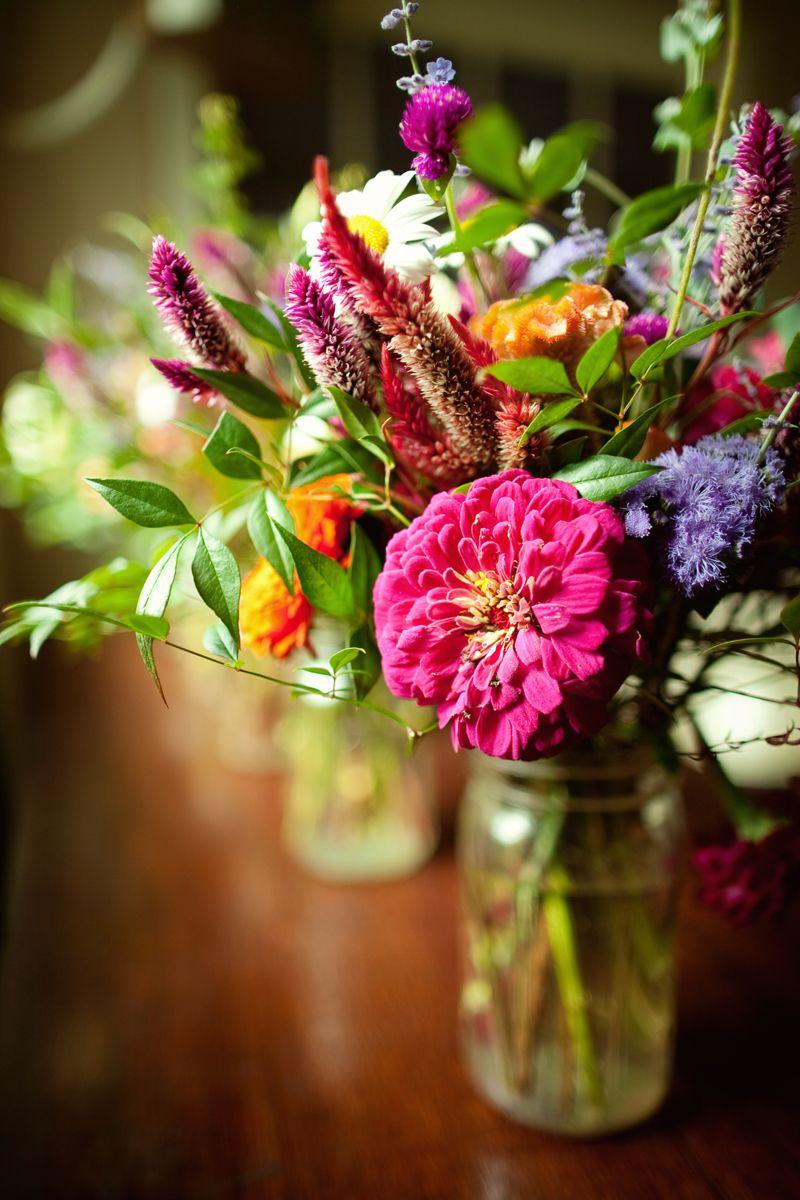 Virginia Vineyard Wedding Wildflower Mason Jar Centerpiece
