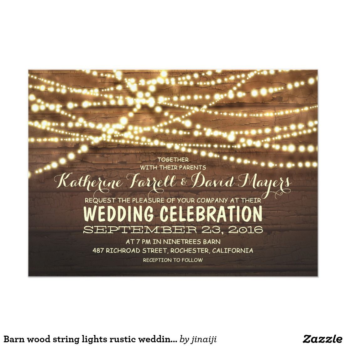 Barn wood string lights rustic wedding invitations.  Artwork designed by Jinaiji. Price $2.16 per card