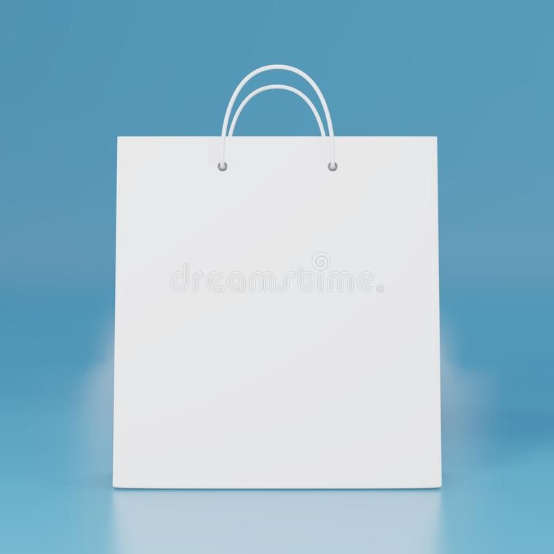 Download Blank White Paper Bag With Isolated 3d Rendering Empty Gift Carry Pack Template Shopping Packet Mock Up Stock Illustra Gift Bag Templates White Paper Paper