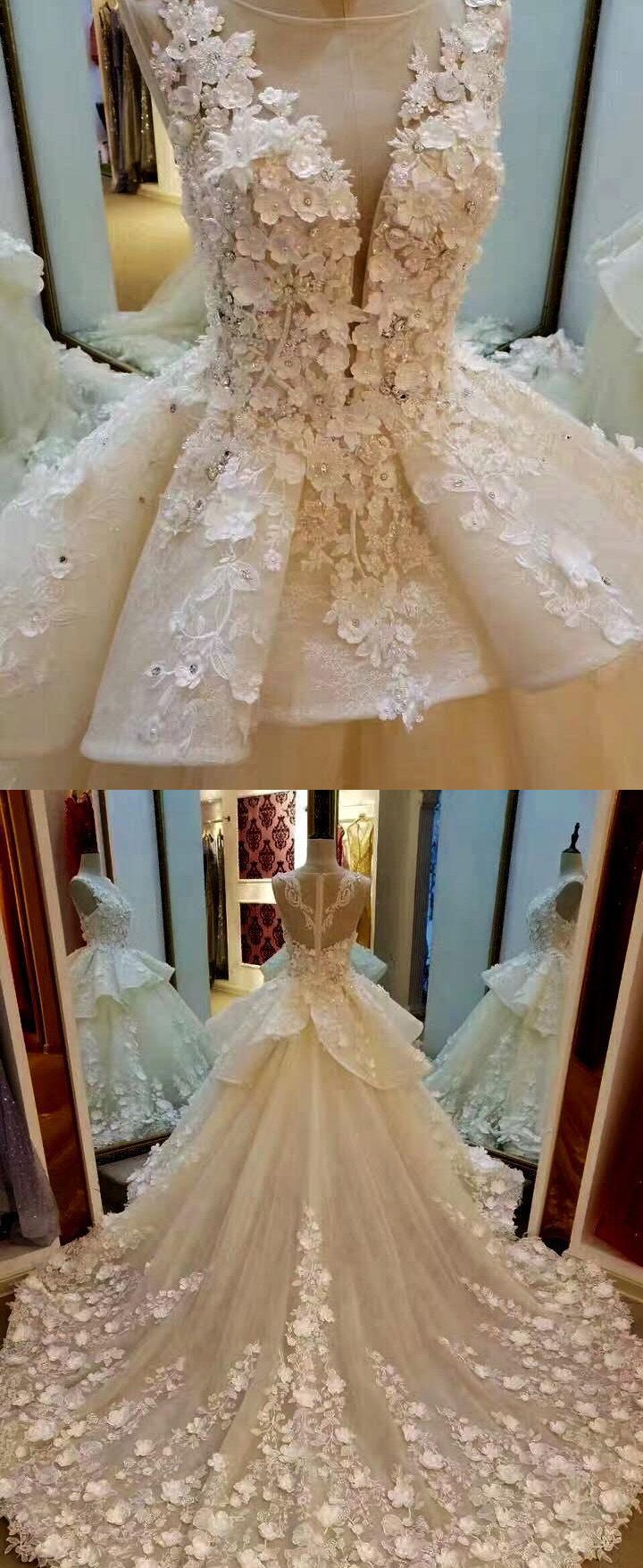 Long Train Wedding Dresses, Beautiful Wedding Dresses, White Wedding ...