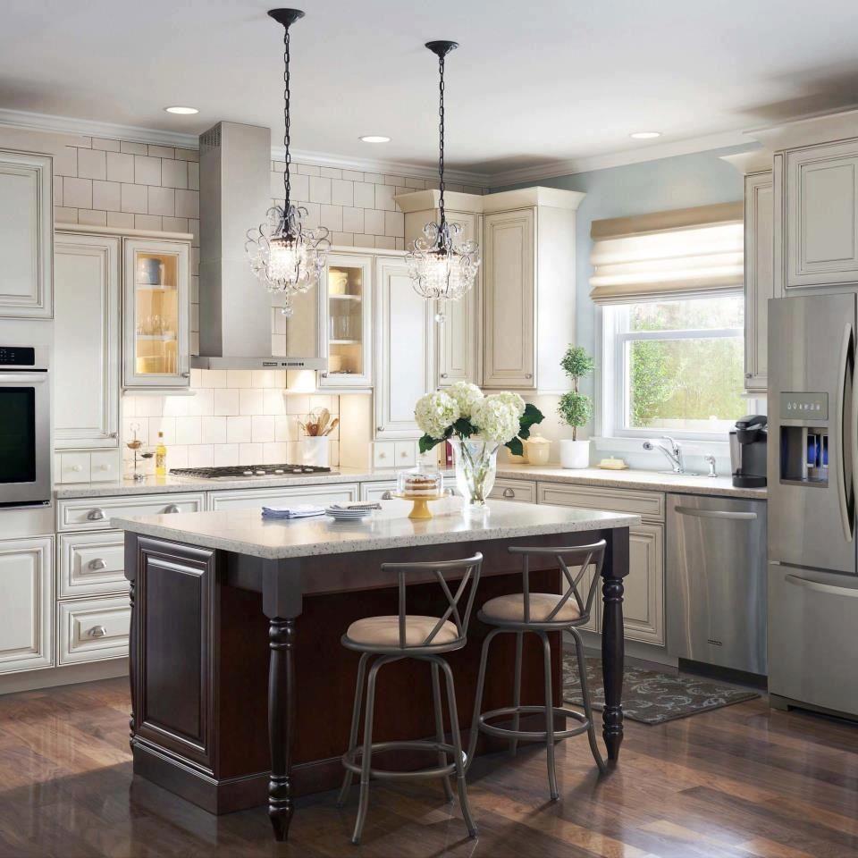 white kitchen with island in dark finish  kitchen design