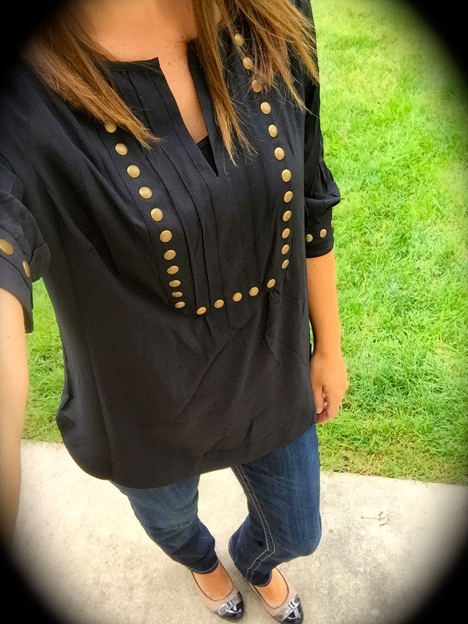 Hawthorn moni stud detailed sleeve blouse in black stitchfix