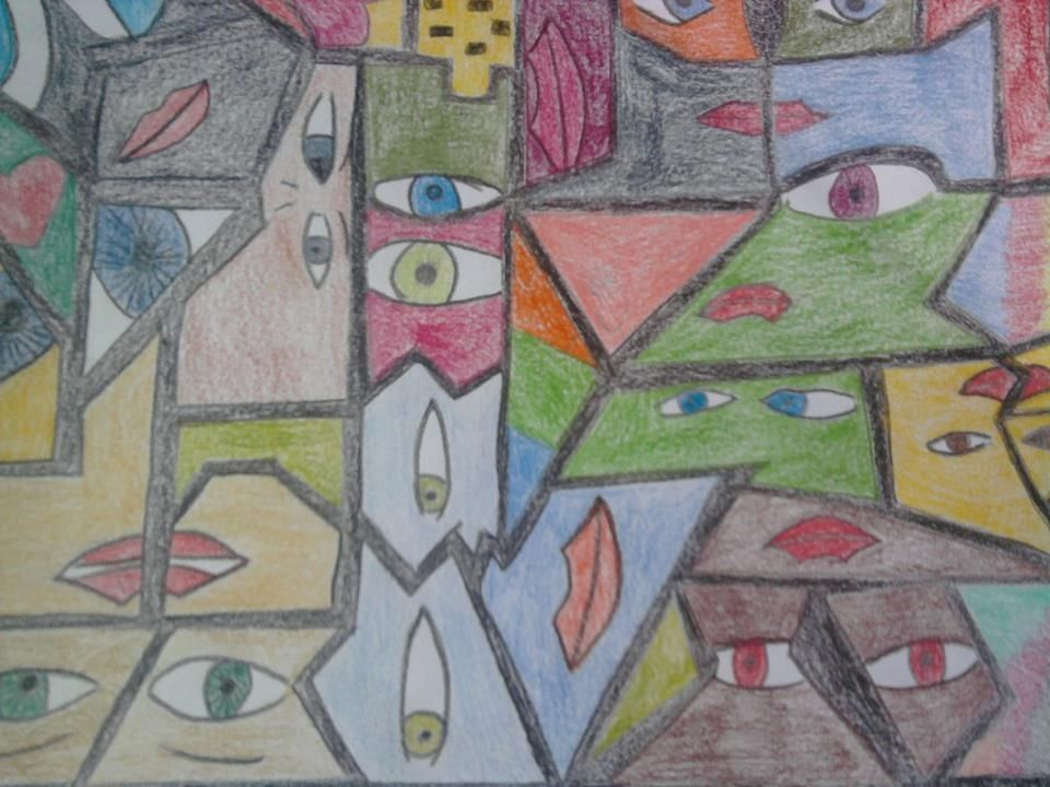 Estampa, inspirada nas obras de Romero Britto