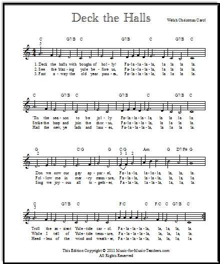 Deck the Halls lead sheet for all instruments, Music-for-Music-Teachers.com