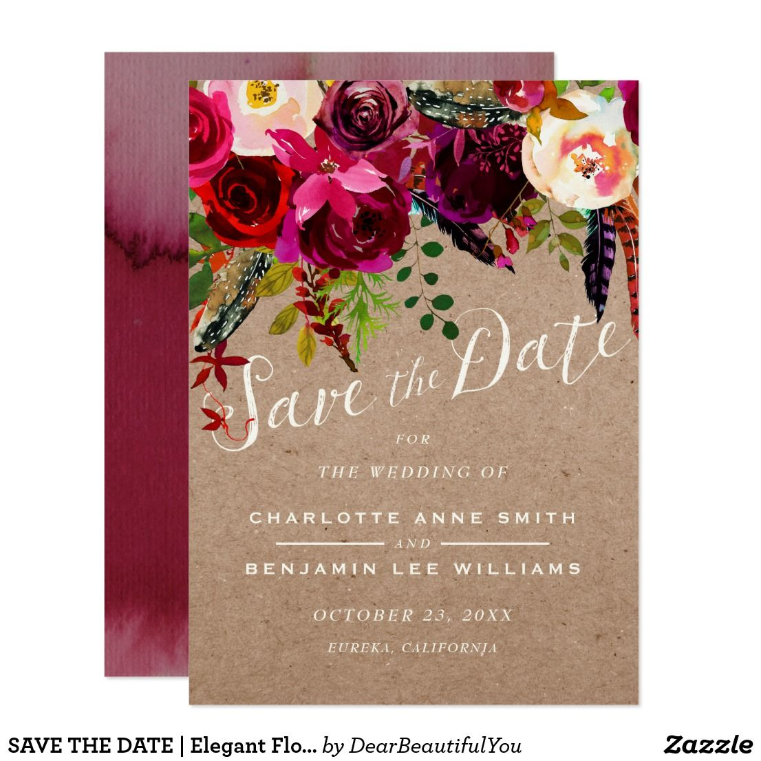 SAVE THE DATE | Elegant Floral Rustic Boho Wedding | Rustic boho ...