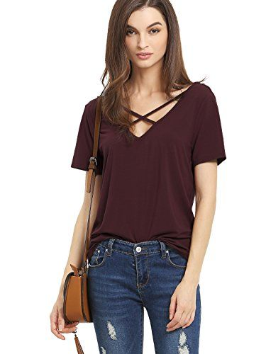 26f56a3a38 ROMWE Women s Casual Short Sleeve Solid V-Neck T-Shirt Tops Burgundy L