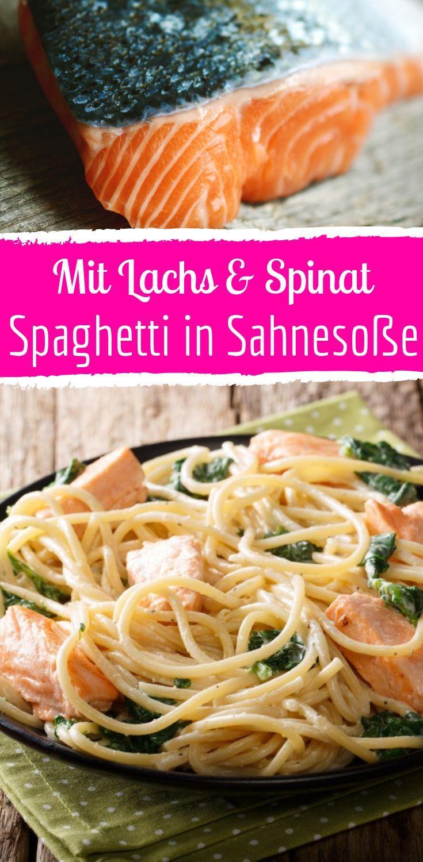 Spaghetti mit Lachs und Spinat in Sahnesauce -