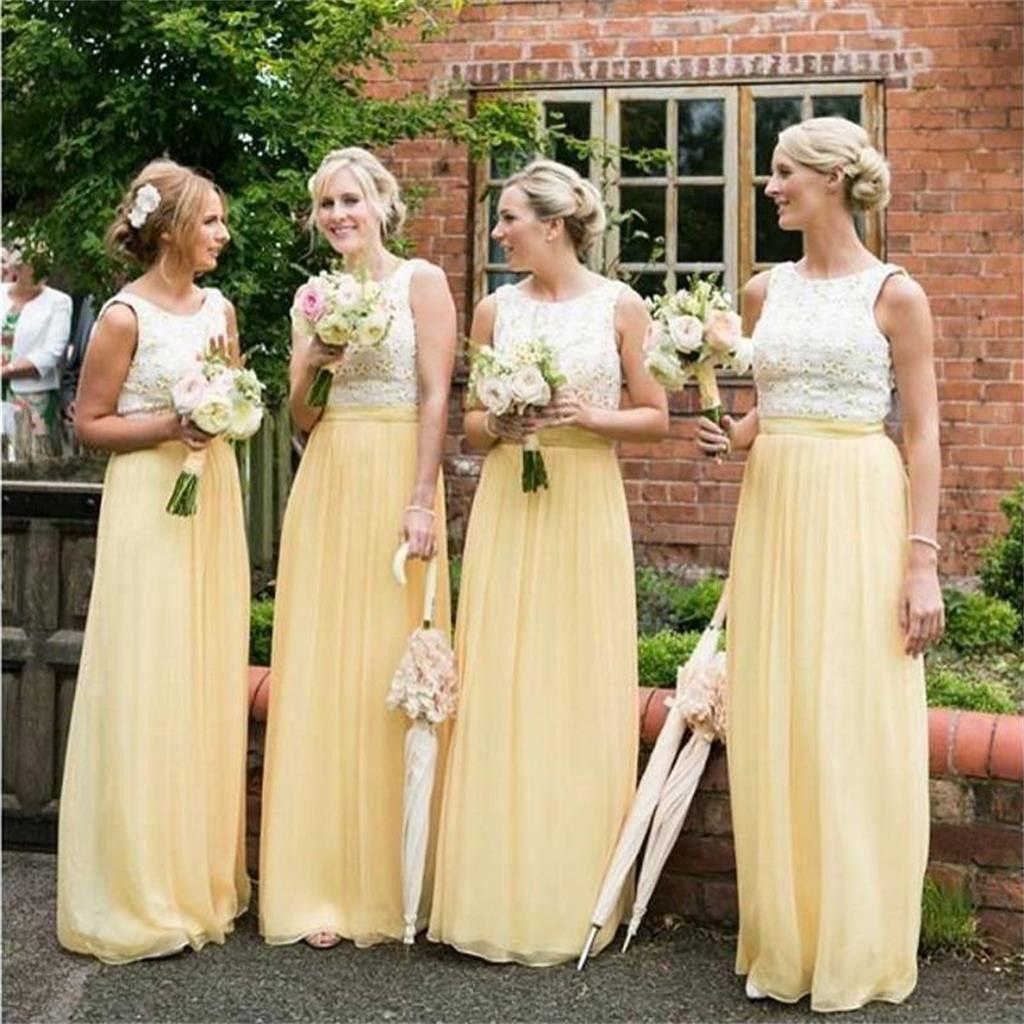 Simple wedding dresses cheap  Long Yellow Chiffon Cheap Sleeveless Lace Top Simple Bridesmaid