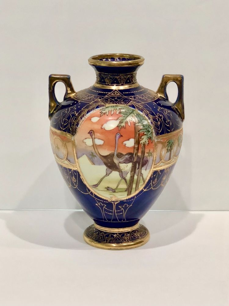 Nippon Hand Painted Vase Pyramid Ostrich Antique Pottery Japanese