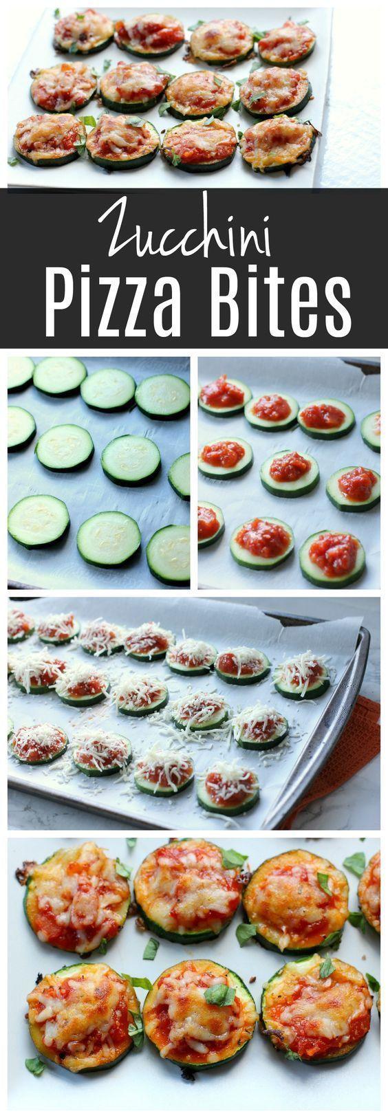 Diese Zucchini-Pizza beißt eine gesunde Vorspeise- oder Abendessenidee! Kinder werden es lieb...