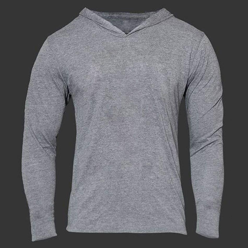 Men Gym Thin Hoodie Long Sleeve Hoodies Sweatshirt Casual T-Shirt Fitness Tops