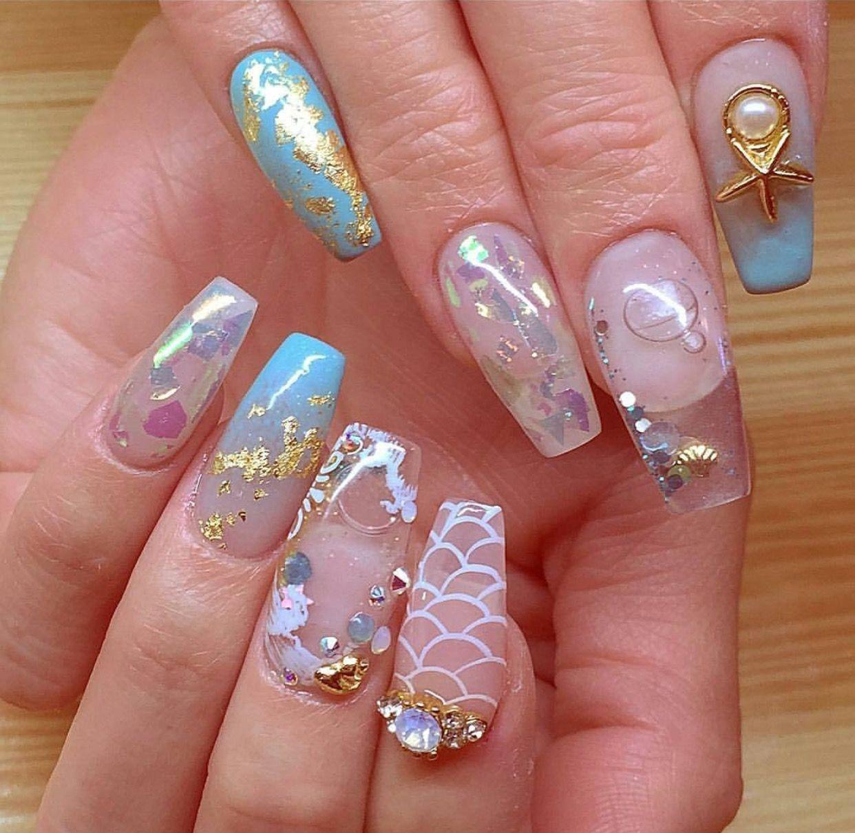 Aquarium nails   Square & Coffin Nails   Pinterest   Aquarium nails ...