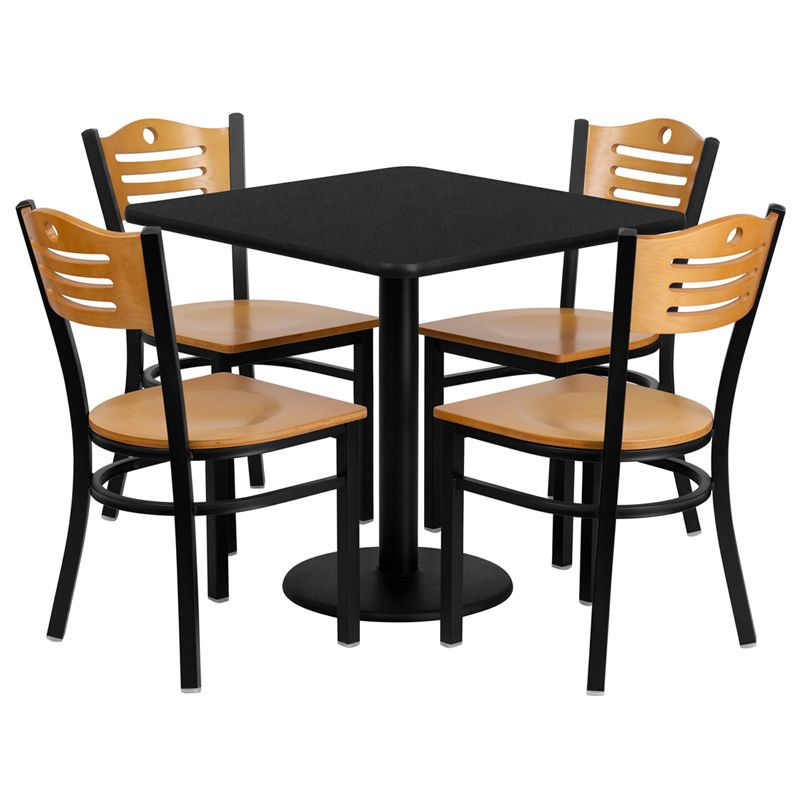 Restaurant Table Chairs 30 Square Black Laminate With 4 Wood Slat Back Metal 847254049542 Ebay Table And Chair Sets Flash Furniture Restaurant Chairs