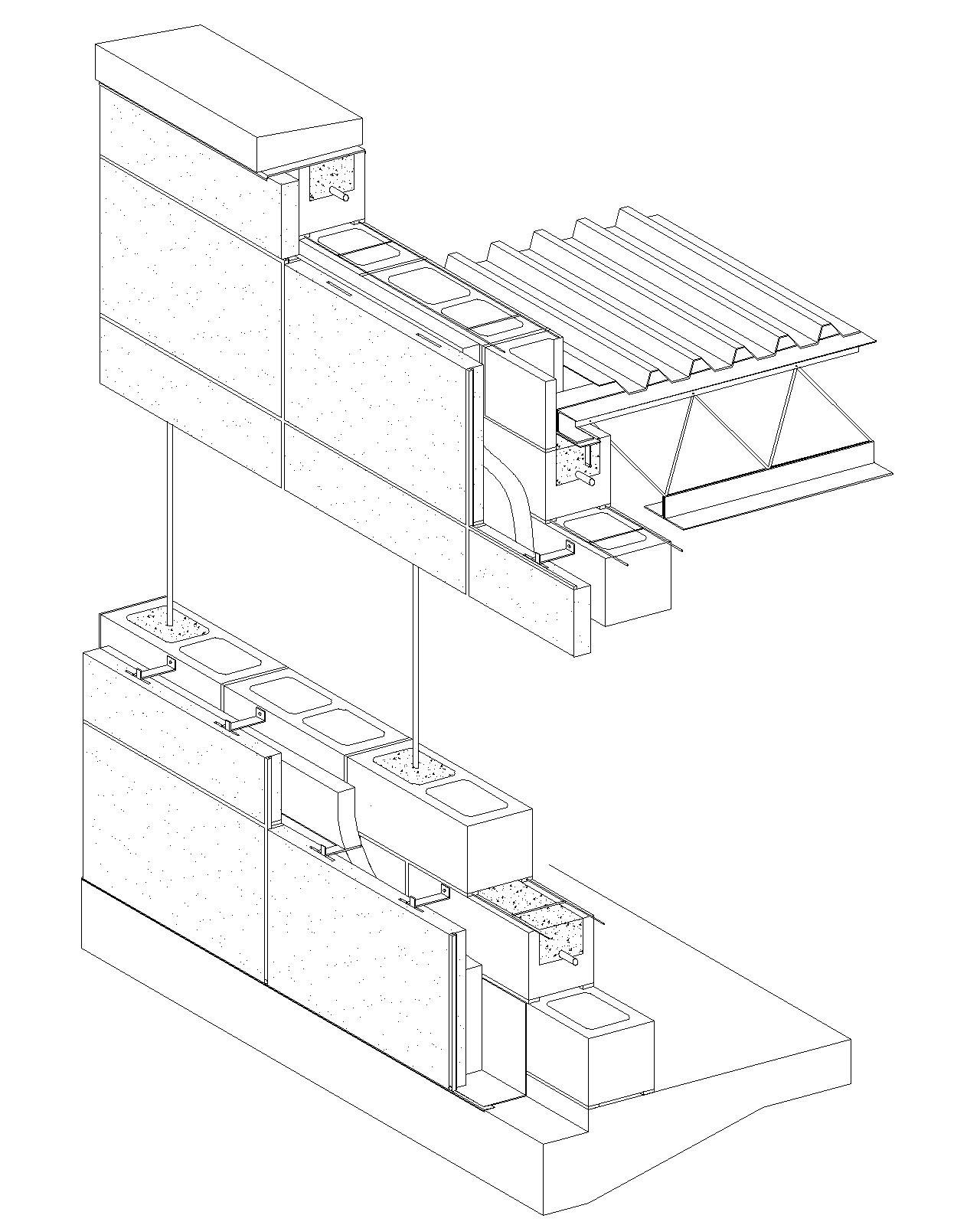 Cavity Wall Stone Slab Veneer Reinforced Concrete Block Jpg 1280 1600 Wall Section Detail Concrete Block Walls Concrete Wall