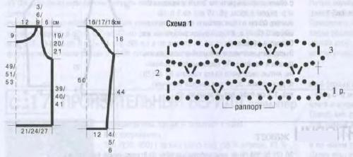 Схема 1 и выкройка женского джемпера