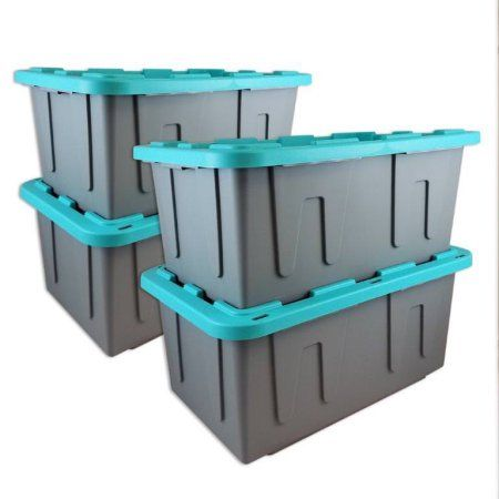 Exceptionnel Durabilt 27 Gal. Plastic Storage Tote, Gray/Teal (Set Of 4)
