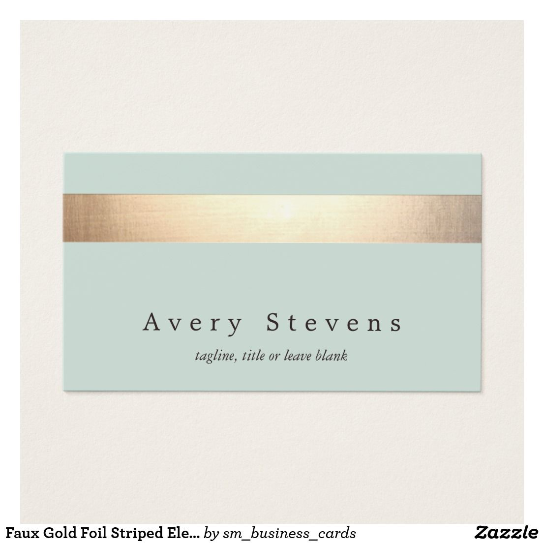 Faux Gold Foil Striped Elegant Light Blue Chic Business Card ...