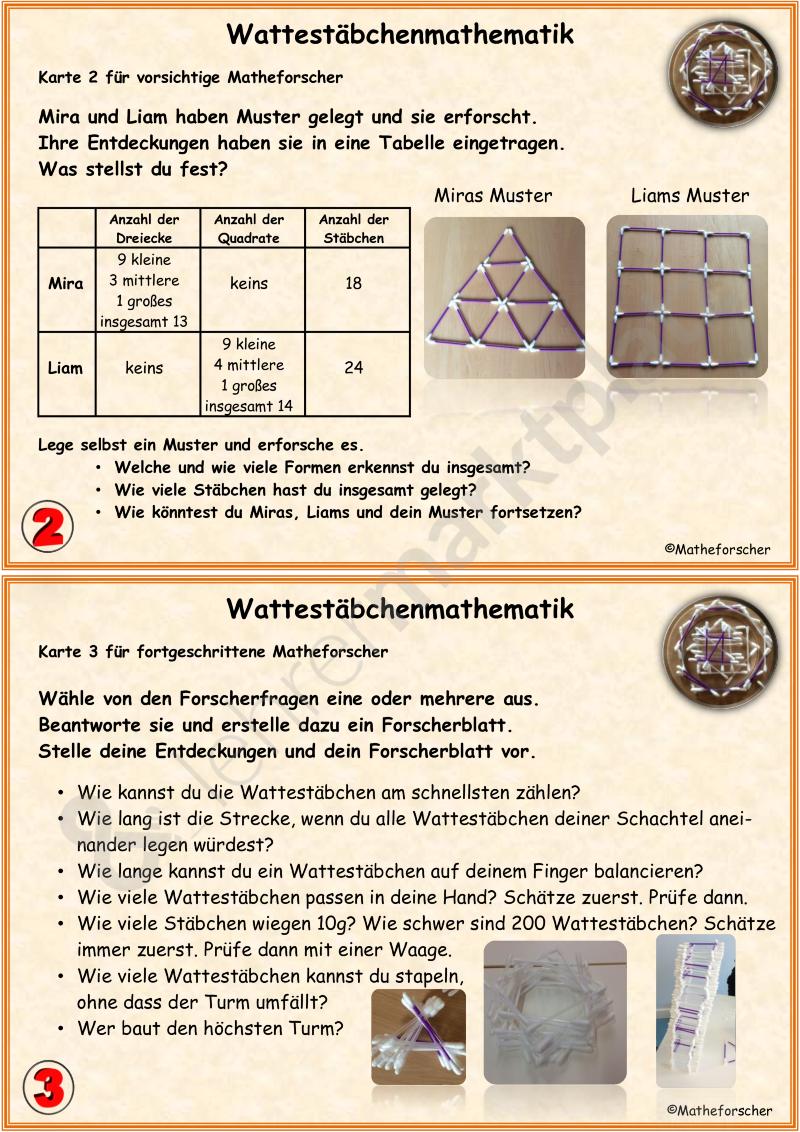Wattestäbchenmathematik in der Grundschule – Mathematik | Mathe ...