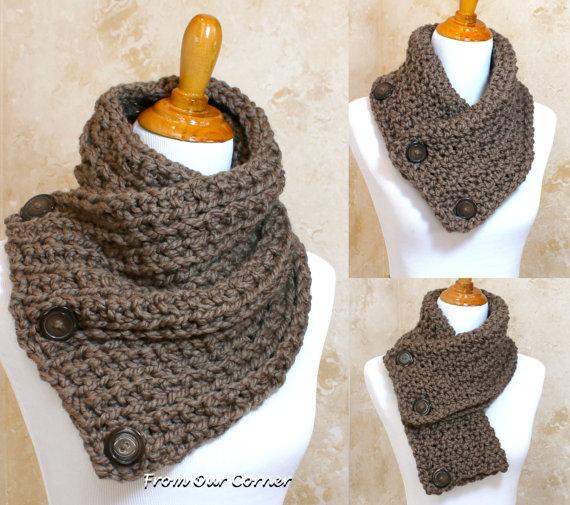 Crochet Scarf, 3 Button scarf, Wrap cowl, Dallas Dreams Scarf, Taupe ...