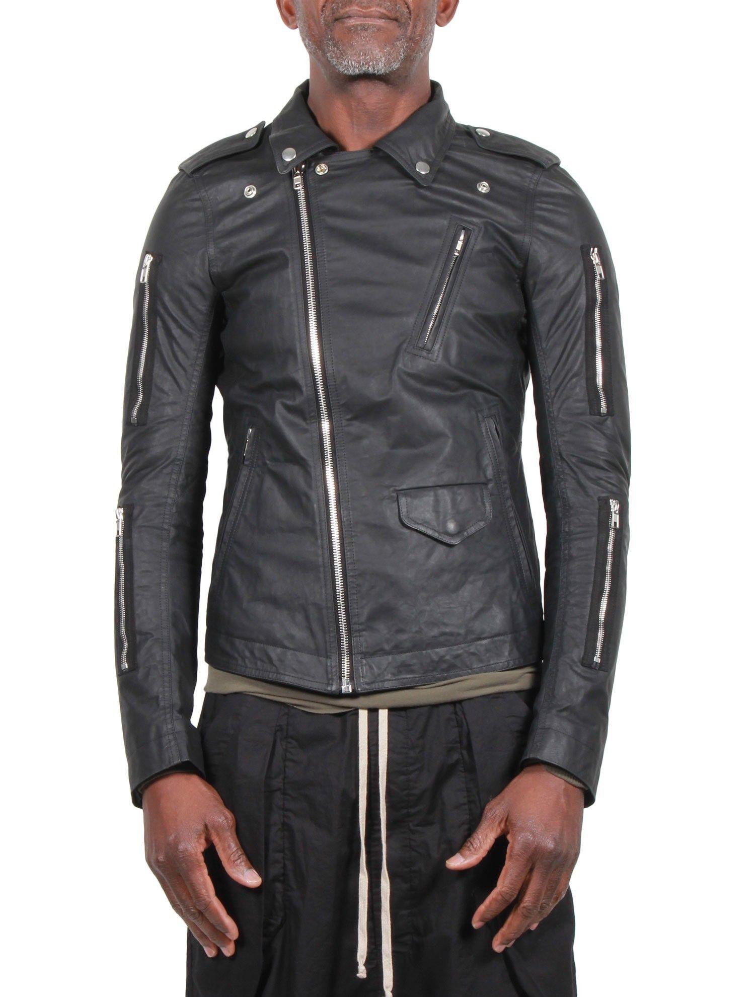 bfc4b8573a24e Blouson Homme RICK OWENS SS16 Cyclops - 'Zipped Stooges' - Cuir Noir -  serie