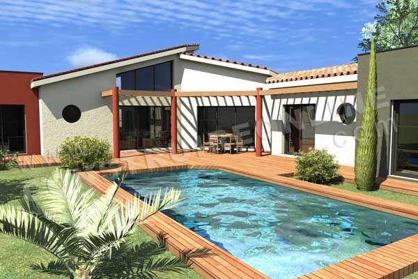 Plan de maison en L moderne Caron vue terrasse home Pinterest