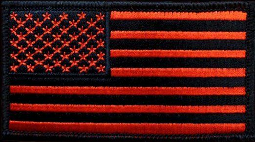 """[Single Count] Custom, Cool & Awesome {5"""" x 3"""" Inches} Small Rectangle Patriotic National American Stars and Stripes Flag (Tactical Type) Velcro Patch """"Black & Red"""""""