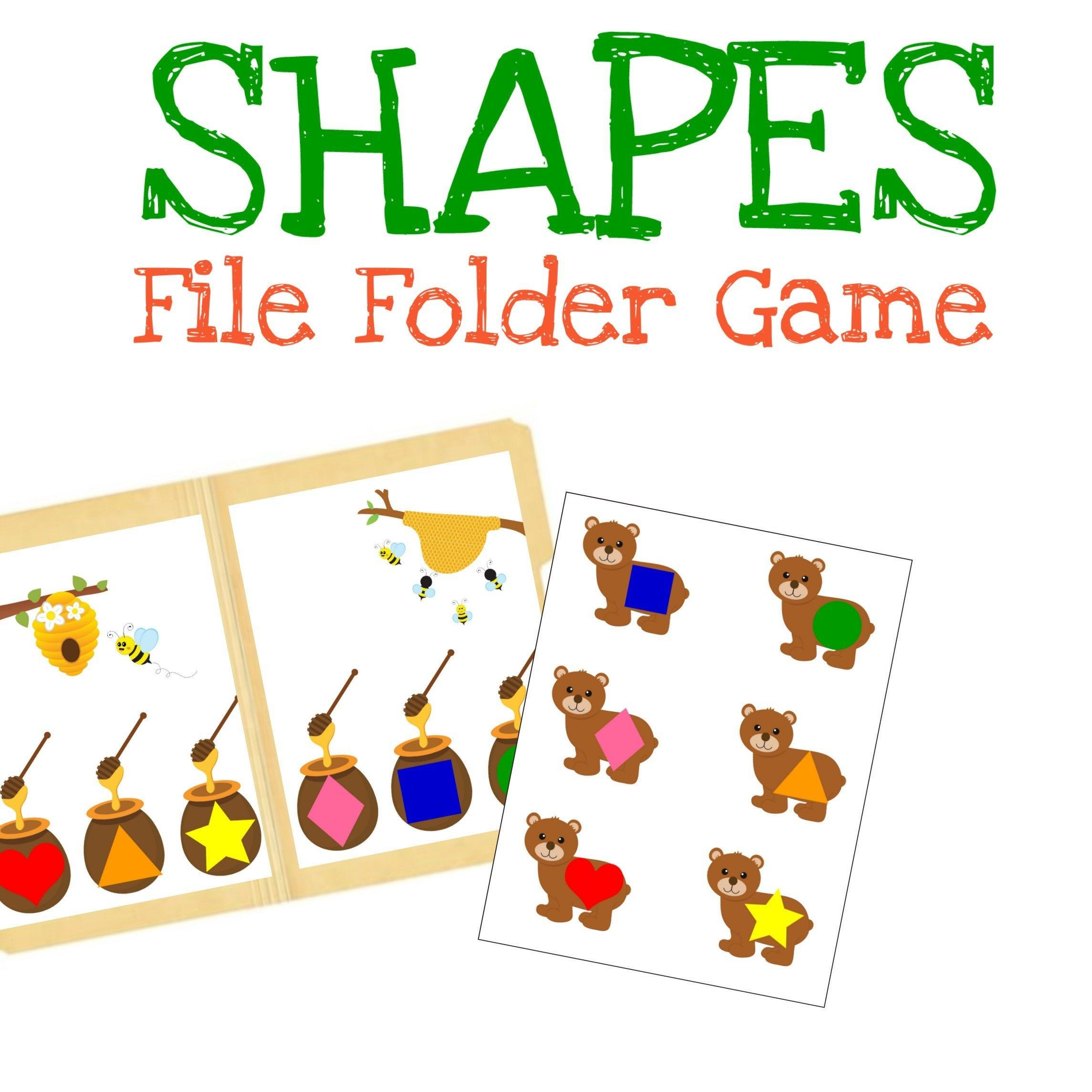 Bears Matching Shapes And Colors Kids File Folder Games