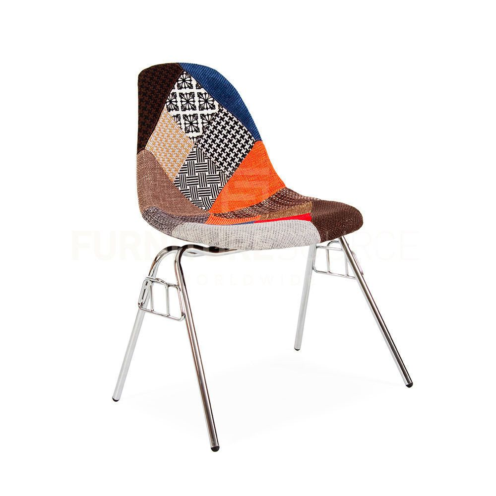 Eames DSS Style Mid Century Modern Patchwork Upholstered Stacking Side Chair   FSW  MidCenturyModernEames DSS Style Mid Century Modern Patchwork Upholstered Stacking  . Eames Dsw Dsr Dss Faux Leather Seat Pad. Home Design Ideas