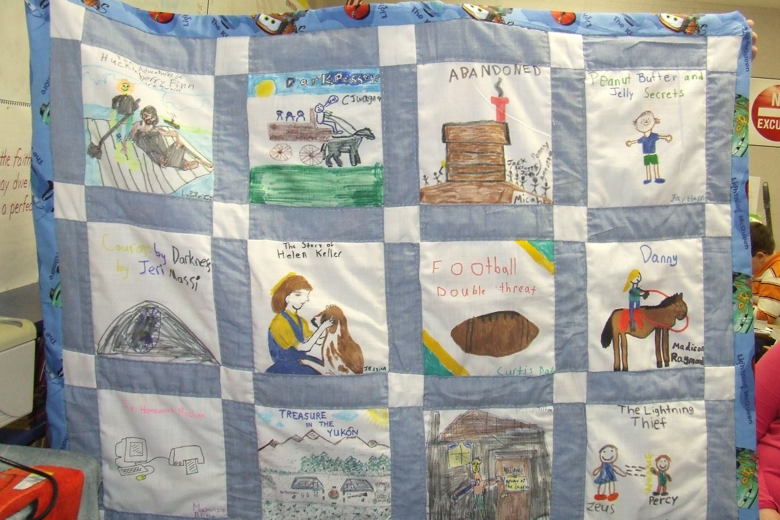 This is an example of one of my annual book report quilts. Each ...