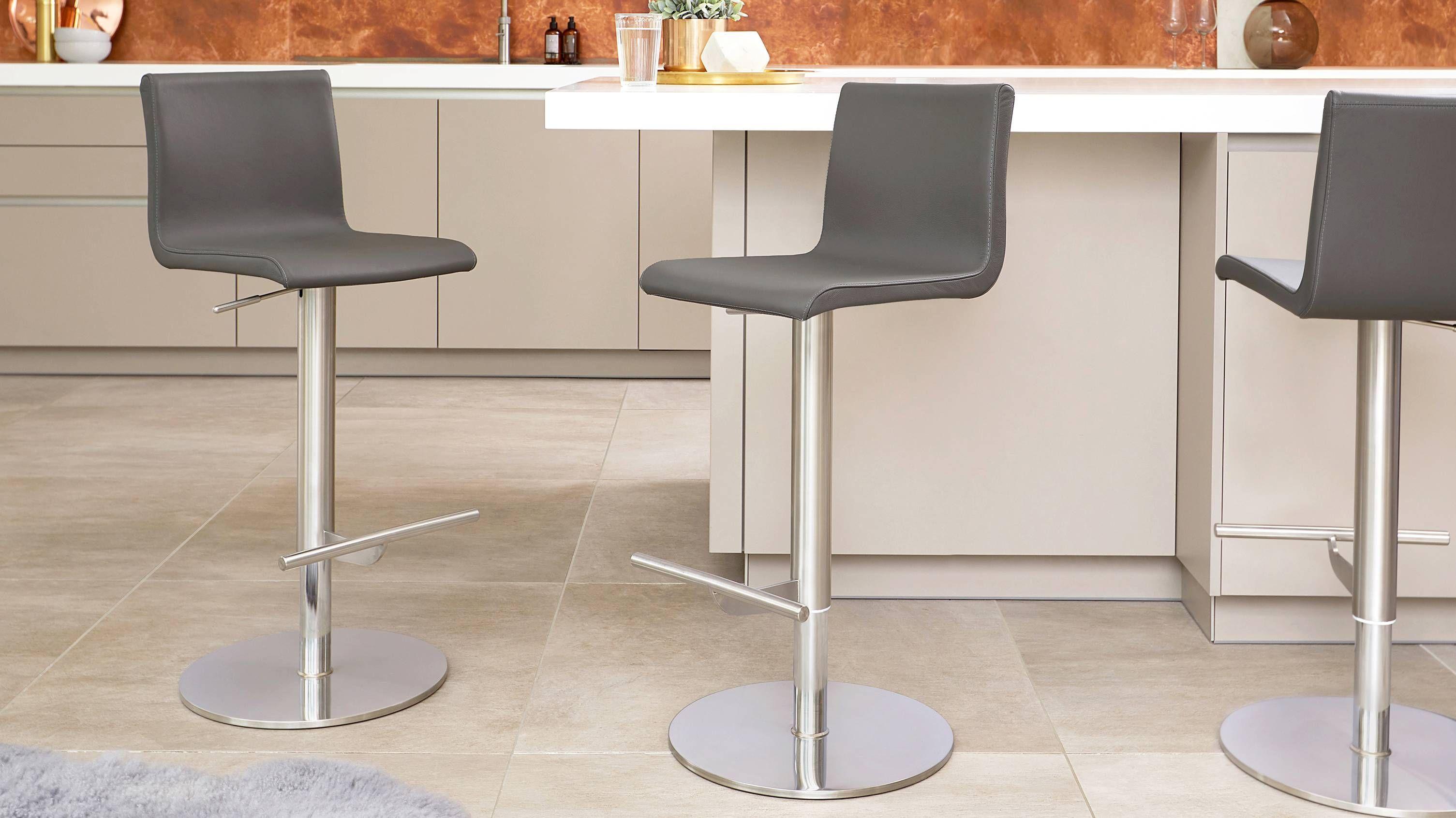 Kiki Light Grey Real Leather Gas Lift Bar Stool Bar Stools Modern Kitchen Stools Classic Bar Stools