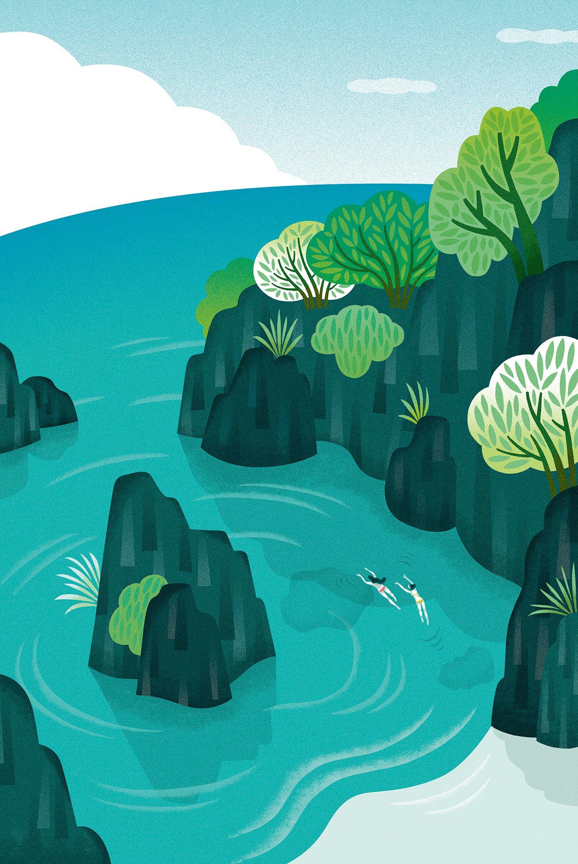 Landscape Illustration Vector Free: Mutsumi Kawazoe On Behance . Summer . Beach . Swim In To