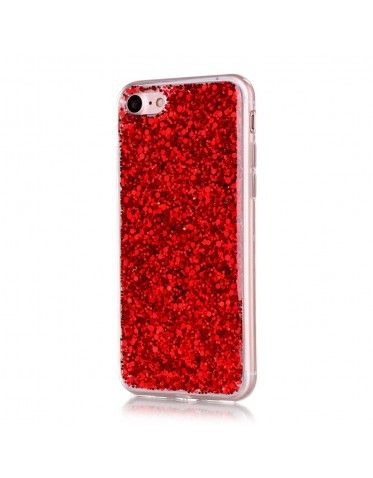 coque iphone 7 plus rouge paillette