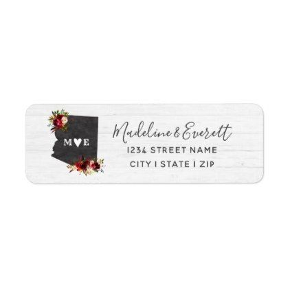 Arizona State Destination Wedding Return Address Label - script