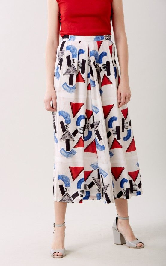 High waisted, wide leg culotte pants in our Little Big Town print on poly Crepe de Chine with hook and bar closure at the waist. Pleats at the front. Sits at the waist. #rachelcomey