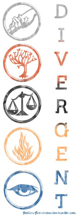 Factions in Divergent! The Divergent series might be (don't hate the messenger) as good if not better than... Hunger Games!!