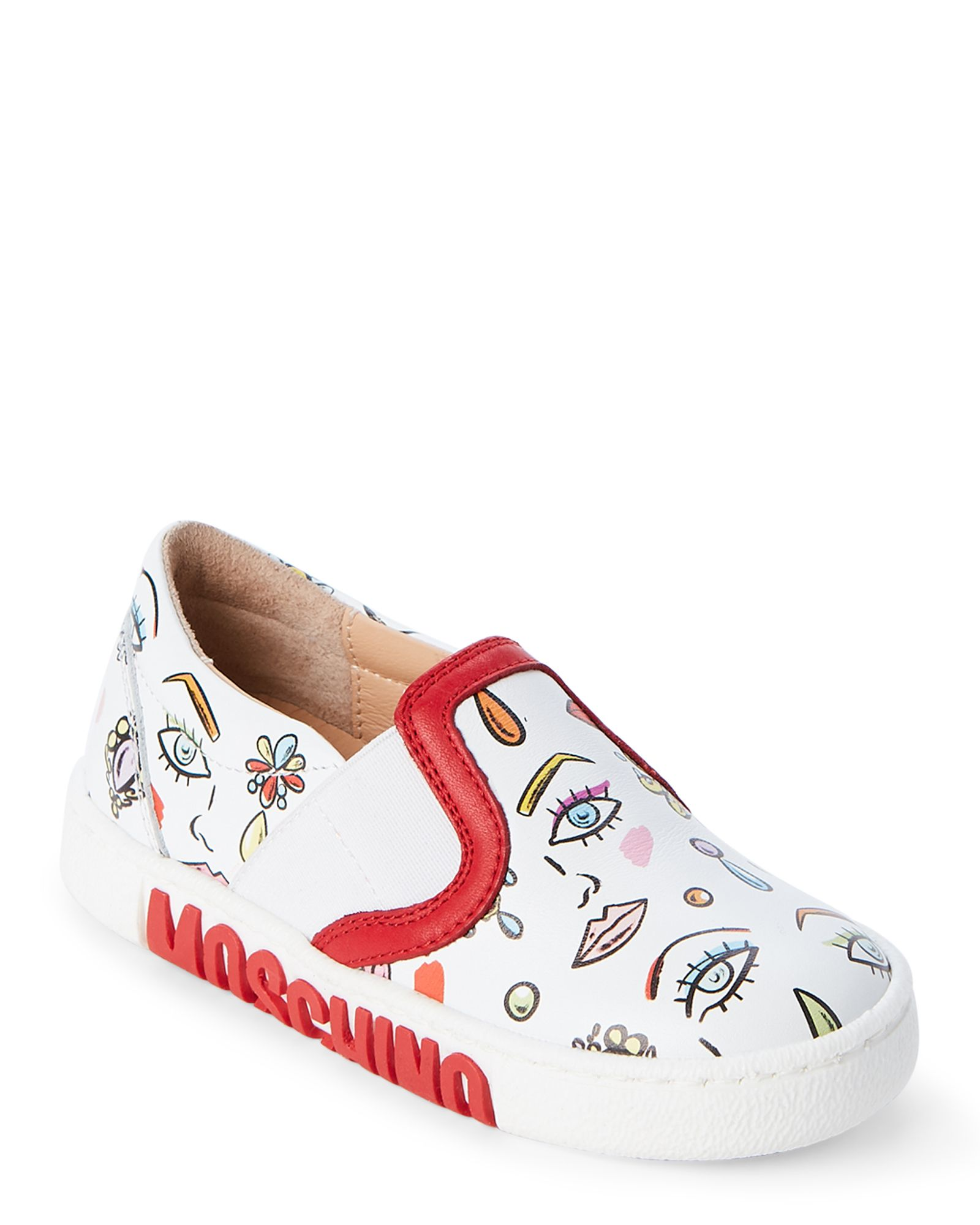 5643eb8c16c4 Moschino (Toddler Kids Girls) White Leather Face Print Slip On Sneakers