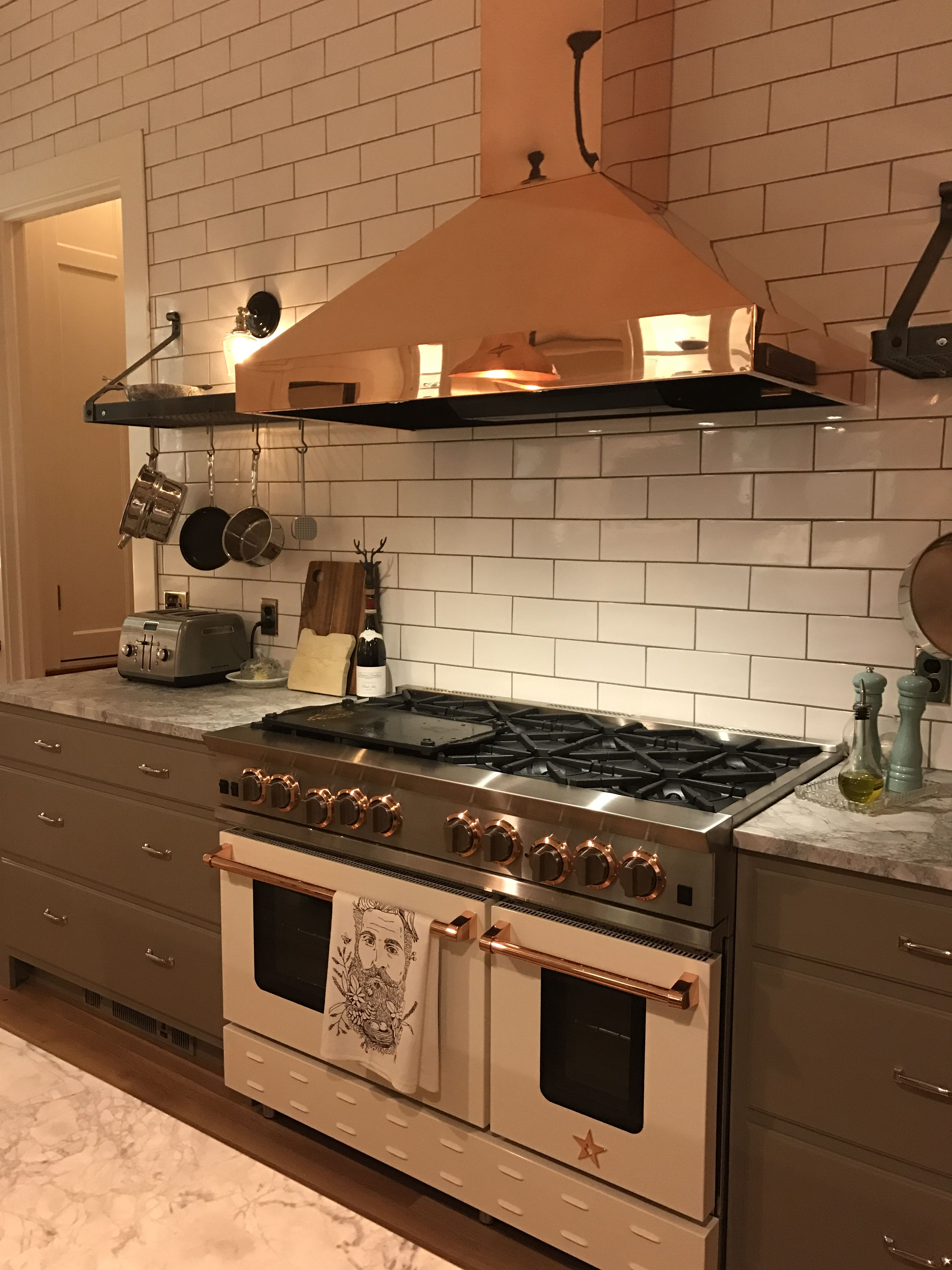 Blue Star Stove With Copper Trim And Copper Vent A Hood
