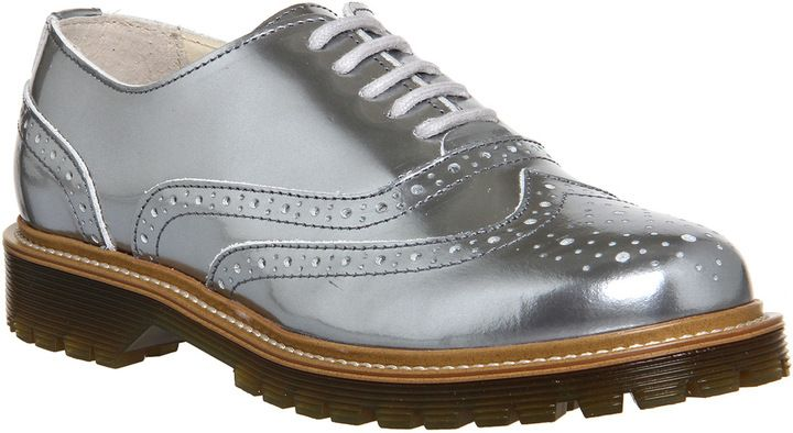 Office Vendetta Cleated Brogue Lace Up Silver Mirror Leather - Flats