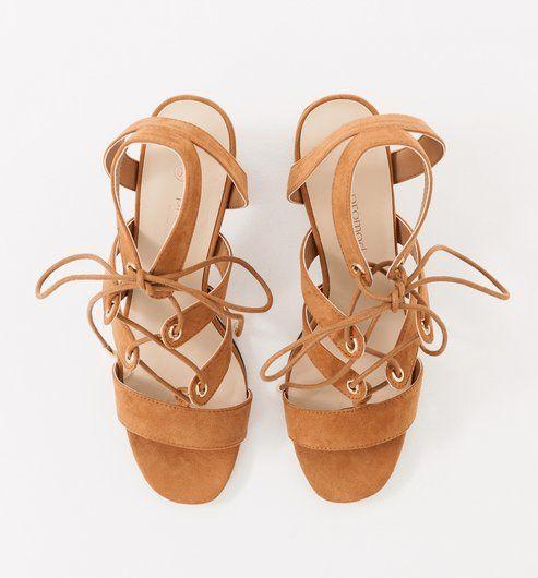 0dbcd6465ed08d High-heeled sandals caramel - Promod 40€
