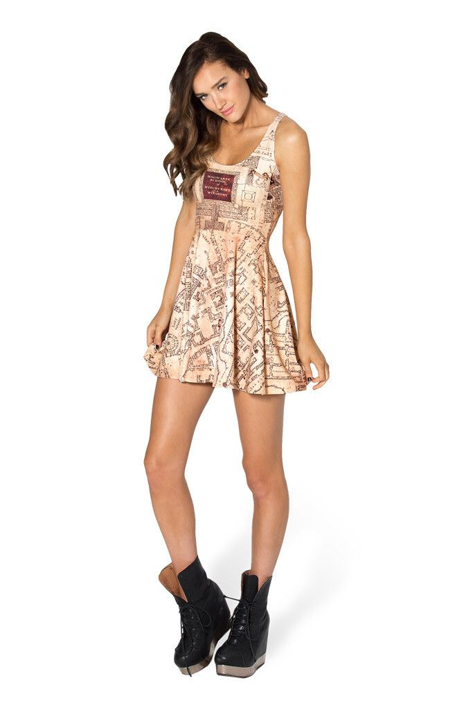 Marauders Map Reversible Skater Dress 2.0 by Black Milk Clothing $95AUD