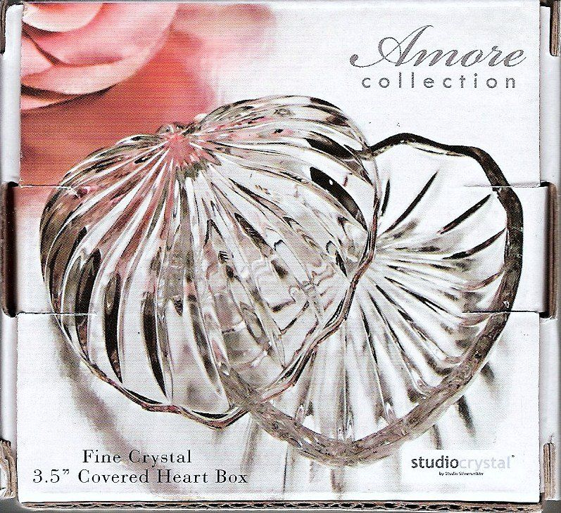 Studio Silversmiths Crystal Heart Box. Add sparkle and light to your home. These crystal designed boxes add a sleek elegance and ideal for trinkets and candy