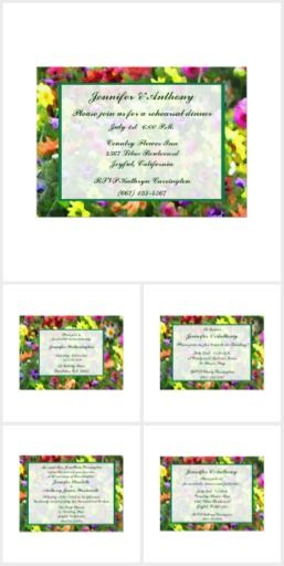 Floral Impressions Wedding Collection. This lovely floral wedding collection features masses of flowers in every color of the rainbow. Enjoy the yellow, orange, pink, red, blue, purple and white floral pattern set on a background of green leaves. One is reminded of a French Impressionist painting. All text can be customized for your very special occasion.