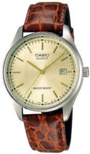Casio Men's Leather watch #MTP-1175E-9A Casio. $18.23. Mineral Crystal. 50 Meters / 165 Feet / 5 ATM Water Resistant. 48mm Case Diameter. Quartz Movement. Save 39% Off!