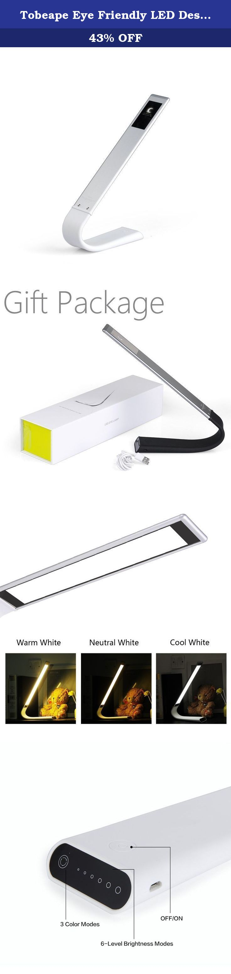 tobeape eye friendly led desk lamp cordless touch sensitive