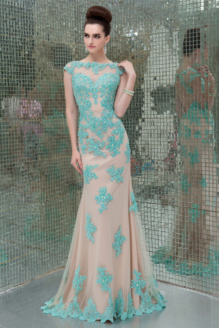 mesh illusion scoop neckline cap sleeve prom dress with beads