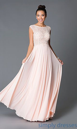3ad3640fcace Cap Sleeve JVN by Jovani Formal Gown with Bead Embellished Sheer Bodice at  SimplyDresses.com