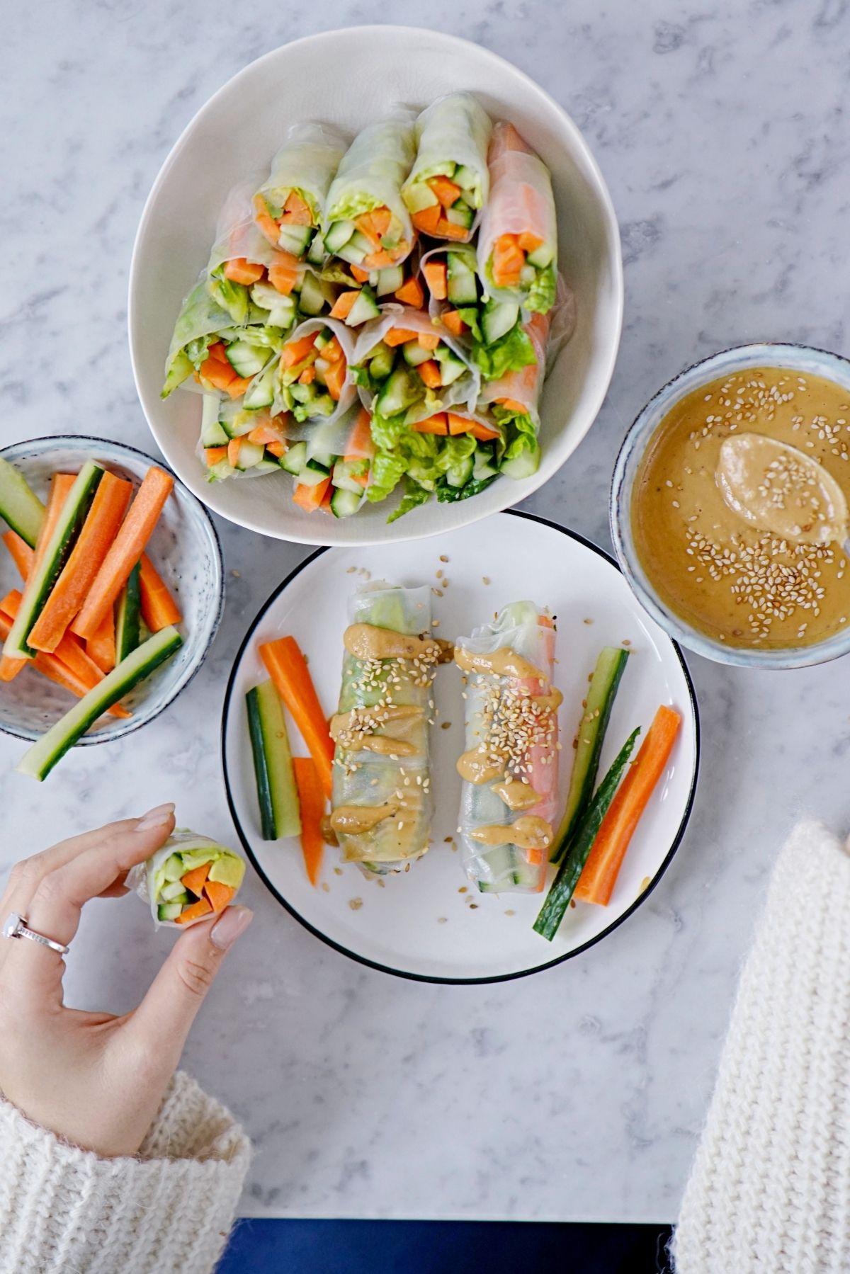 Gesund Leicht Vegane Somerrollen Mit Selbstgemachtem Erdnussdip Vegane Rezepte Abnehmen Vegane Und Vegane Rezepte Einfach